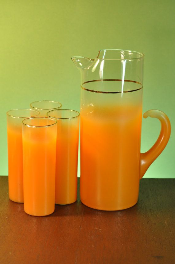 Blendo Glass Pitcher and Glasses Set Orange by Federal and West Virginia Glass on Etsy, $59.98