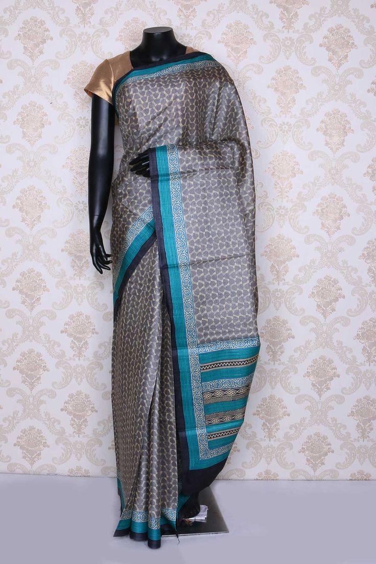 #Sublime light #grey multi color pure #tussar silk printed #saree -SR12556