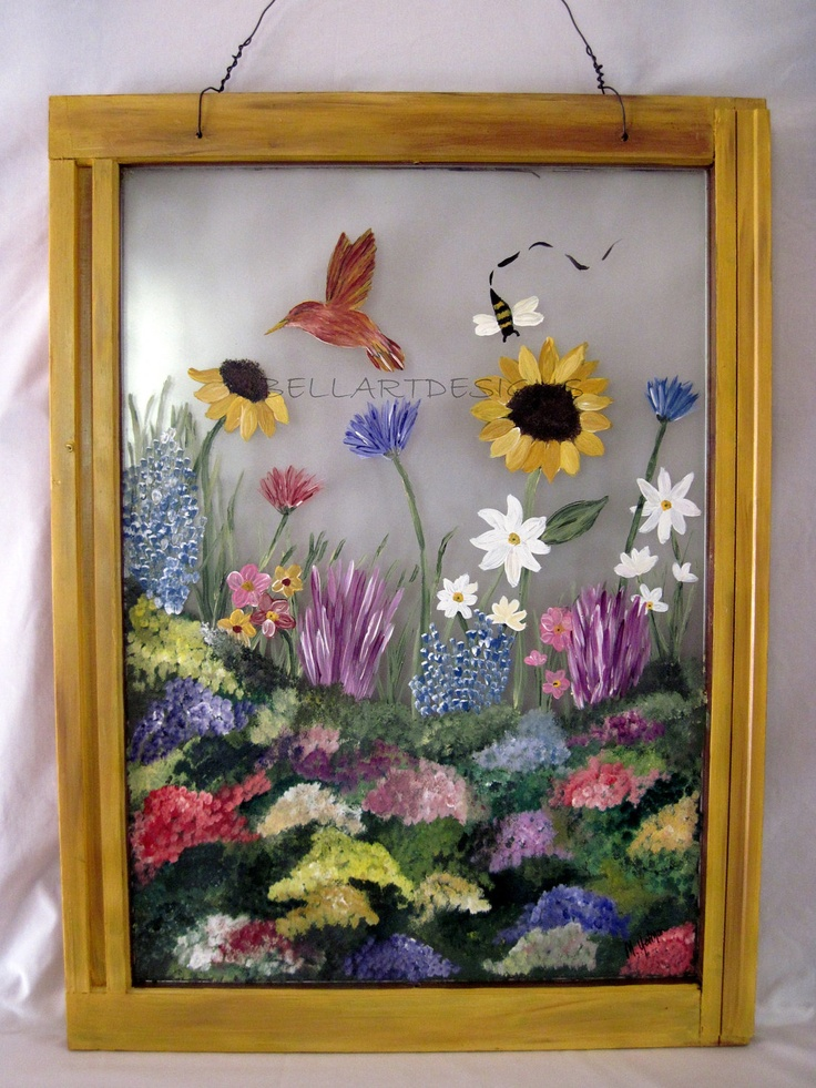 Hand Painted Window - Yellow w/ Wildflowers & Bird, Garden, Sunflower, Thistle WIN0007. $150.00, via Etsy.