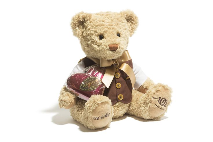 Large Heritage Collectors Teddy Elegantly dressed and with embroidered paws featuring Haigh's centenary logo and signature of founder Alfred Haigh, this Heritage Collectors Teddy will become a treasured member of any family. Teddy comes with a burgundy foiled large milk chocolate heart.