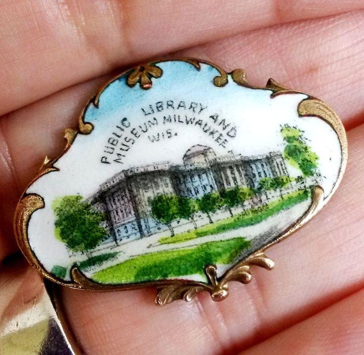 Victorian Enamel Hand Painted Public Library Museum Milwaukee Pin Brass Souvenir