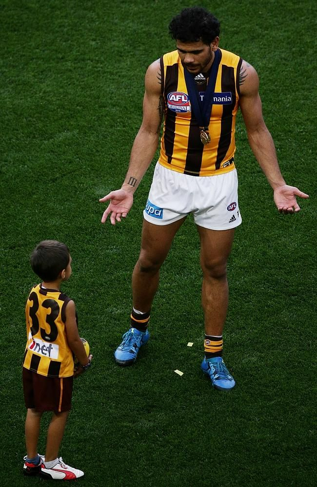 """AFL grand final 2015: Best pictures from Hawthorn celebrations - Cyril Rioli: """"My cousin passed away mid-year and I missed the Bombers game. That was my d"""