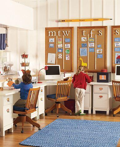 School room: Kids Playrooms, Schools Rooms, Study Spaces, For Kids, Bulletin Boards, Corks Boards, Week Planners, Pottery Barns, Kids Rooms
