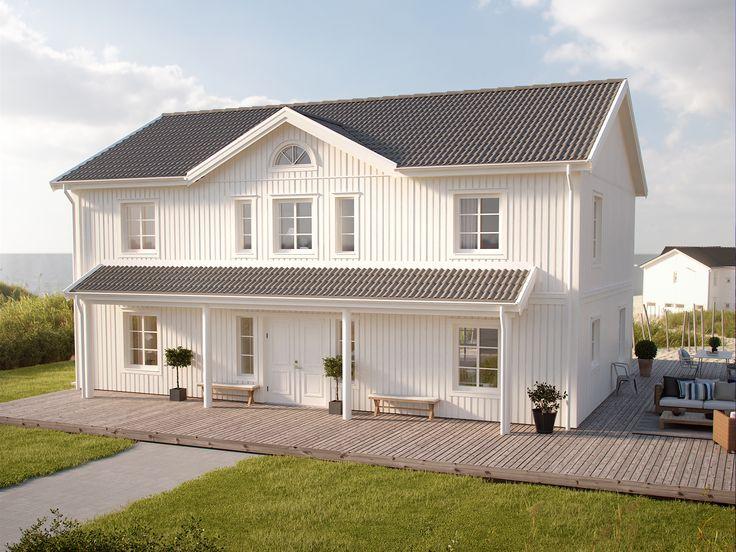 Herrgårdsinspirerad tvåplansvilla för den stora familjen. På Stjärnvik påminner verandan om New England och på bottenplan hittar du ett rejält kök.