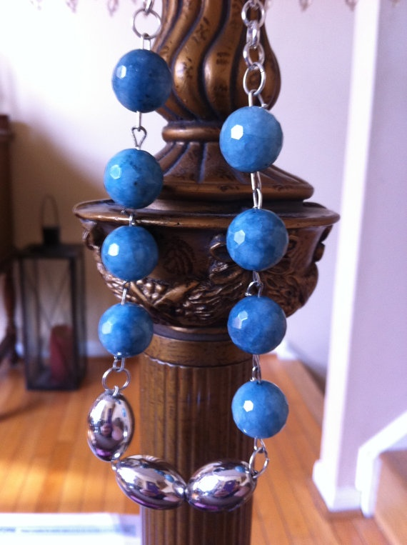 Blue dyed jade and silver plated beaded by SapphiresandSilver, $29.99