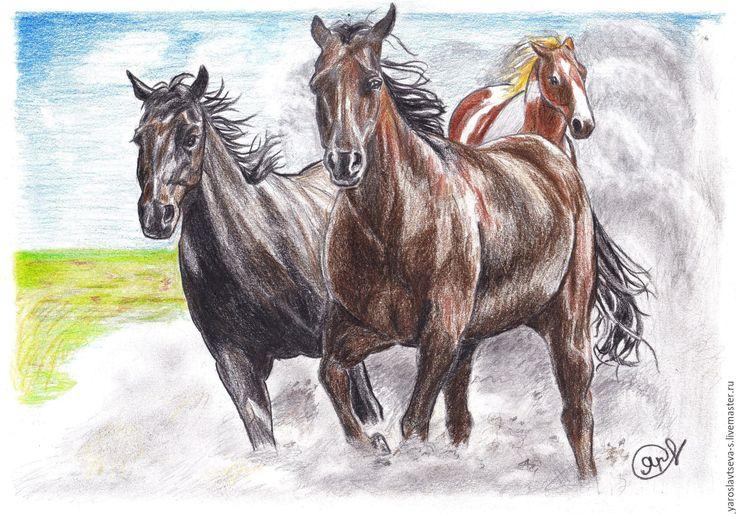 Купить Дикие кони. (Мустанги) - комбинированный, кони, картина в подарок, картина для интерьера, картина в детскую