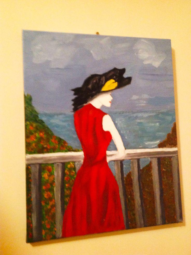 Vrouw in rode jurk, robe rouge
