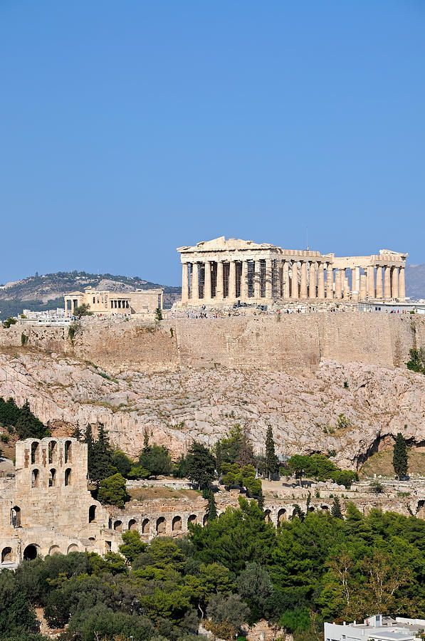 The Parthenon with the Herodes Atticus theater in Acropolis, Athens