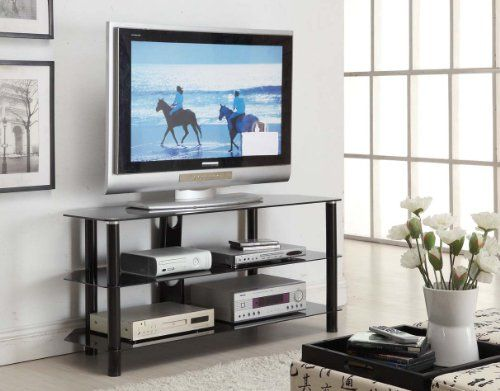 "#Innovex 52"" TV Stand. The Concord Series features a powder coated steel frame with three tempered glass shelves. Its dark glossy frame along with its black glas..."