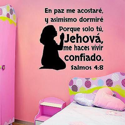 Spanish Wall Decals. Vinilos Decorativos. Versículo de la biblia: Salmos 4:8.