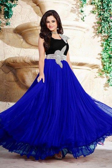 9c9b08812e Blue Georgette Long Prom Dresses Gown - DMV15000