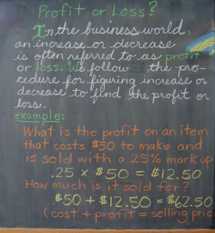 Profit or Loss on a blackboard at the Great Barrington Rudolf Steiner School