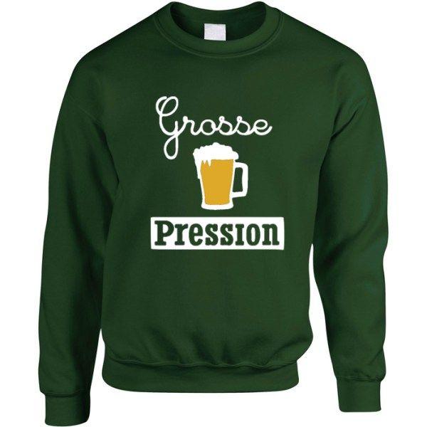 Sweat Grosse Pression. Modèle Grosse Pression, Mixte, Sweat col rond épais, 50% coton, Unisexe, Couleur : Vert forêt. Bière, Kronenbourg, Heineken, Skol, Corona, Budweiser, Vêtements, vêtement, pull.