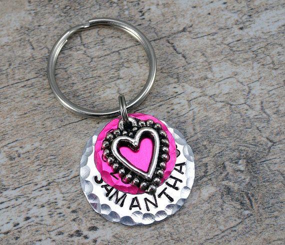 Layered Pet Tag - Heart Pet Tag - Heart Dog Tag - Heart Cat Tag - Pink Cat Tag - Pink Dog Tag - Pink Pet Tag - Cute Pet Tag - Small Pet Tags