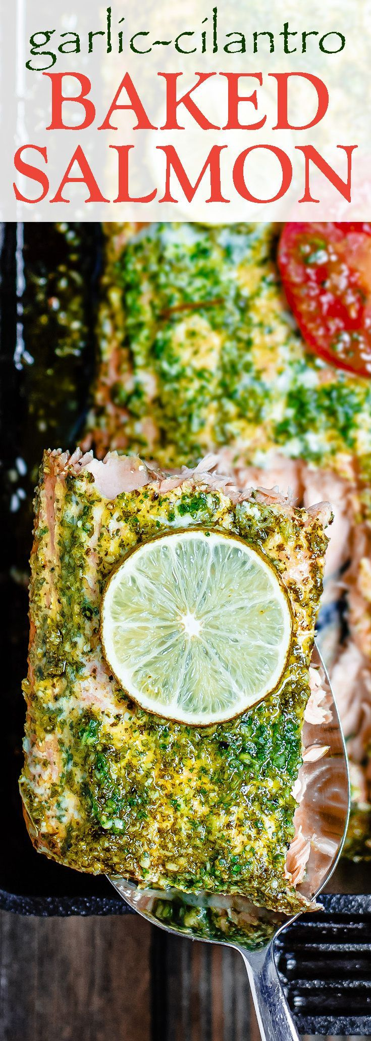 Baked Salmon Recipe with Garlic Cilantro Sauce | The Mediterranean Dish. An easy baked salmon covered in a special garlic cilantro sauce with a hint of citrus. Takes only 15 minutes start-to-finish! I make this one all the time, for weeknight dinner or a holiday dinner! See it on TheMediterraneanDish.com