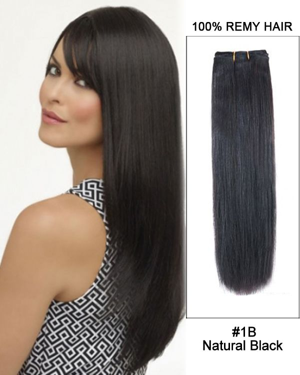 """14""""#1B Natural Black Straight Weave 100% Remy Ha…"""