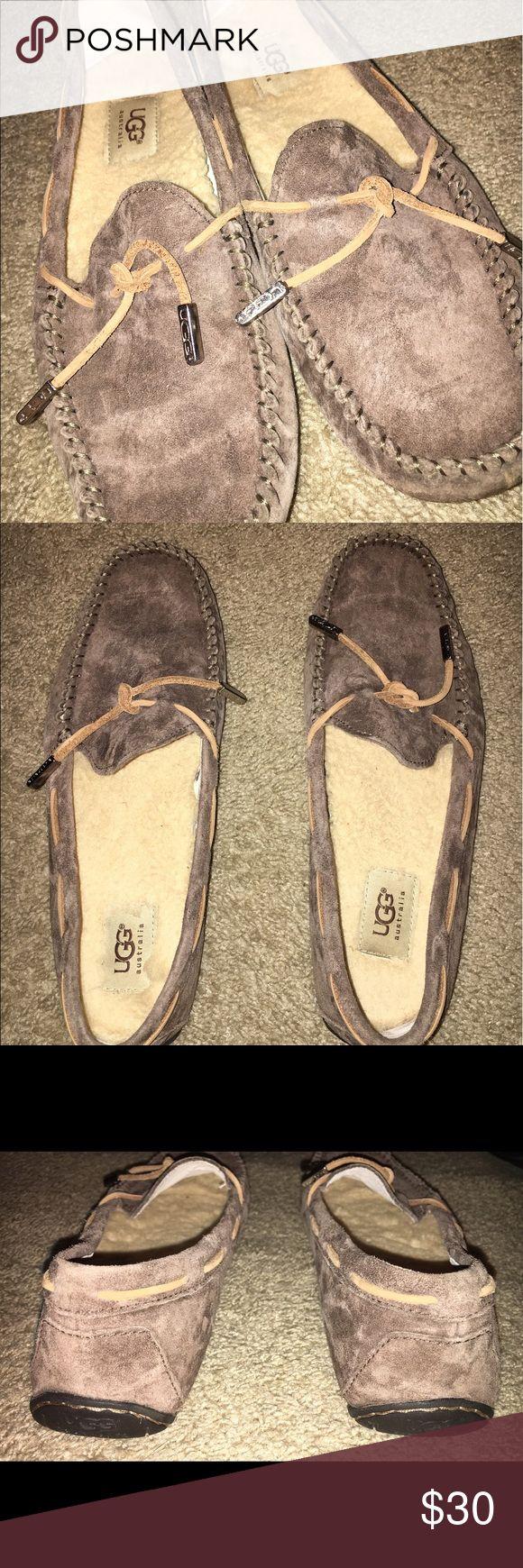 Ugg Australia Moccasins Gently worn mocha suede Ugg Australia moccasins! Comfortable and soft lambs wool footbed!!! UGG Shoes Moccasins