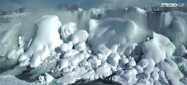 Drone footage reveals the alien world that is a frozen Niagara Falls