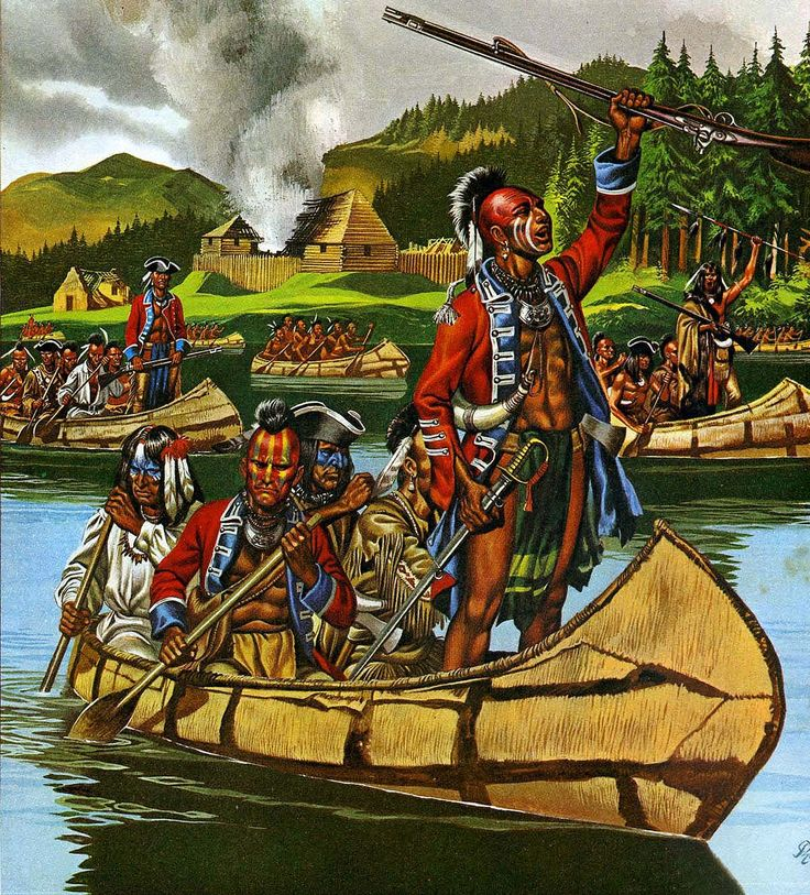 Huron warriors celebrate a victory over British and Colonial troops, Seven Years War