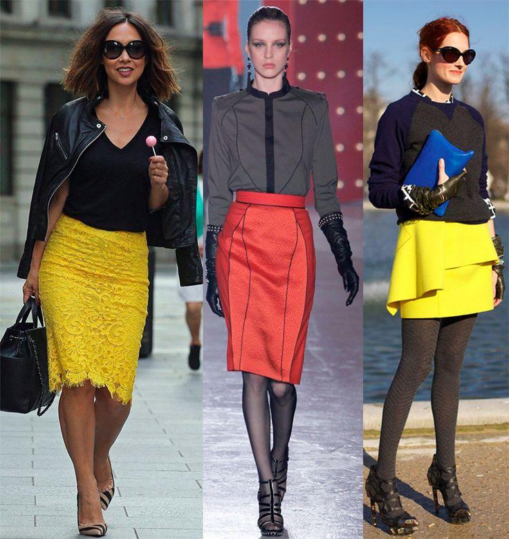 Коралловые и желтые юбки
