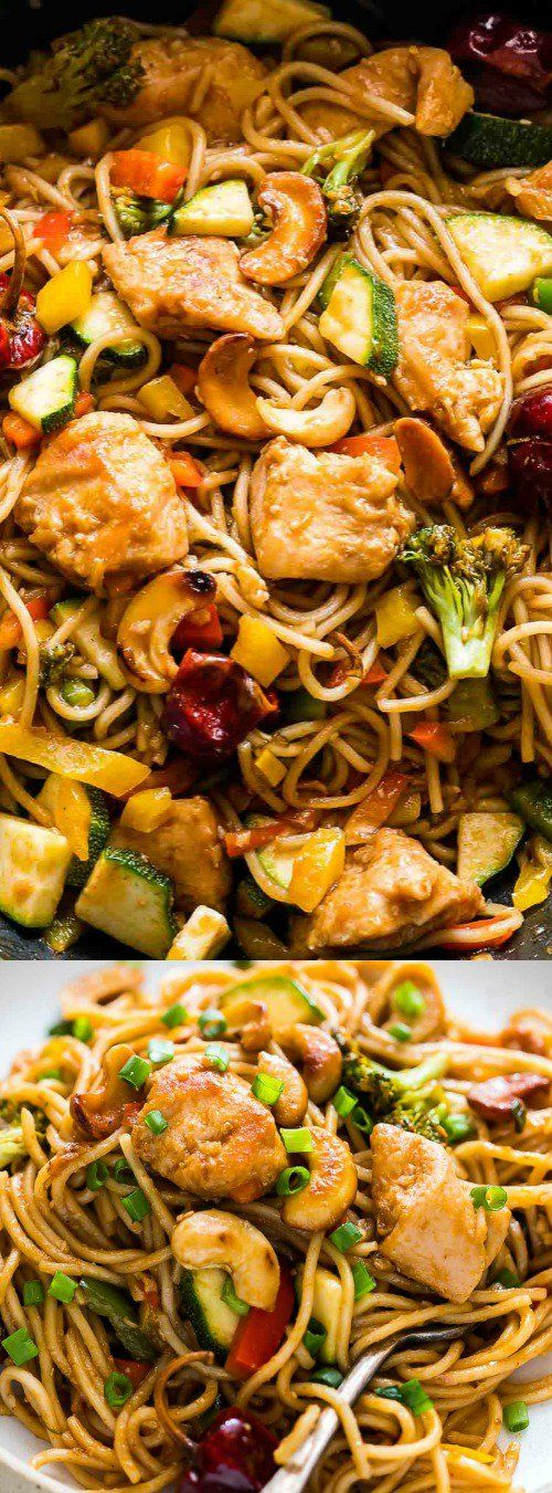 This Chinese Cashew Chicken Noodle Stir-Fry from My Food Story is more delicious then take-out. It's tossed in a super flavorful, spicy sauce!  via @bestblogrecipes