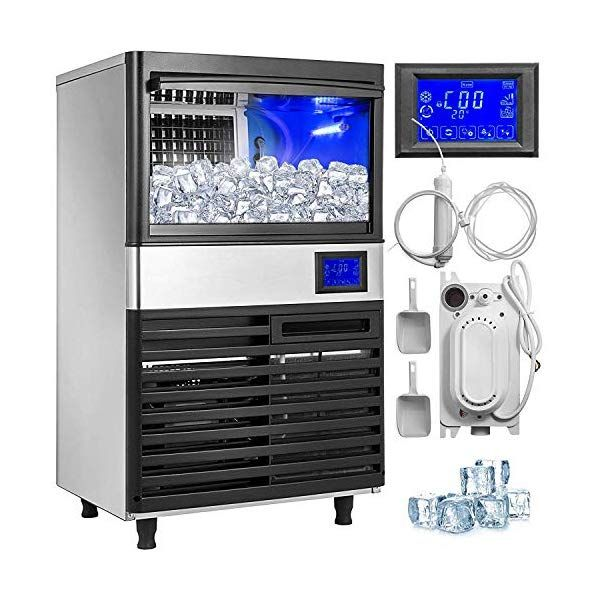 Vevor 110v Commercial Ice Maker 110lbs 24h With 44lbs Bin And Electric Water Drain Pump Full Clear Cube Stainless Steel Auto Operation Include Water Filter In 2020 Commercial Ice Maker Ice Maker