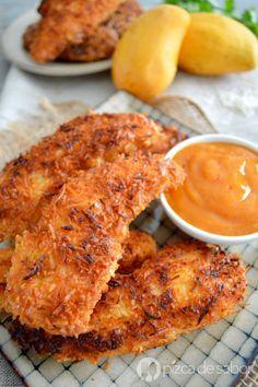 Pollo al coco con salsa de mango al chipotle www.pizcadesabor.com