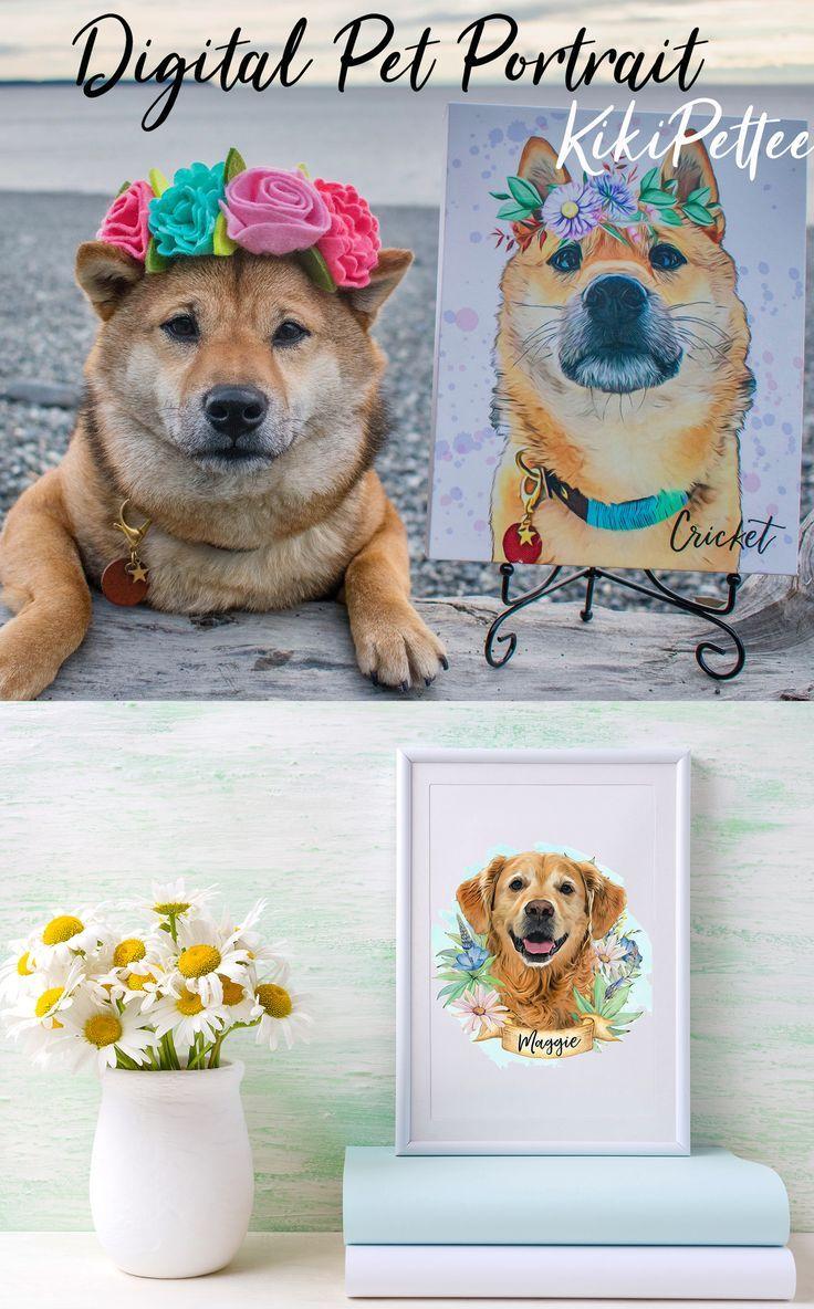 Flower Crown Pet Portrait/ Custom Pet Portrait/ Pet Memorial ...