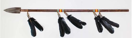 "Rawhide Beaded Spear steel tip 54""  - Native American Arts @ Foutztrade.com  Navajo Indian Beaded Spear 