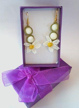 White Daisy Turkish Needle Lace Earrings