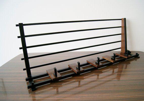 Garderobe Metall Holz Mit Hutablage Wandgarderobe Mid Century