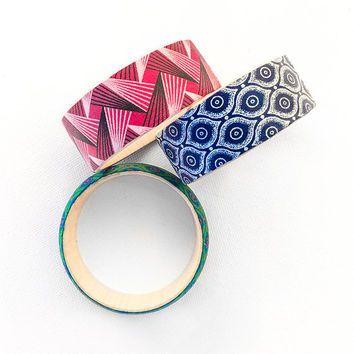 FREE SHIPPING - African Fabric Bracelet • Wooden Bracelet • Wax Print Fabric • Shweshwe Bracelet • African Bracelet • African Jewellery