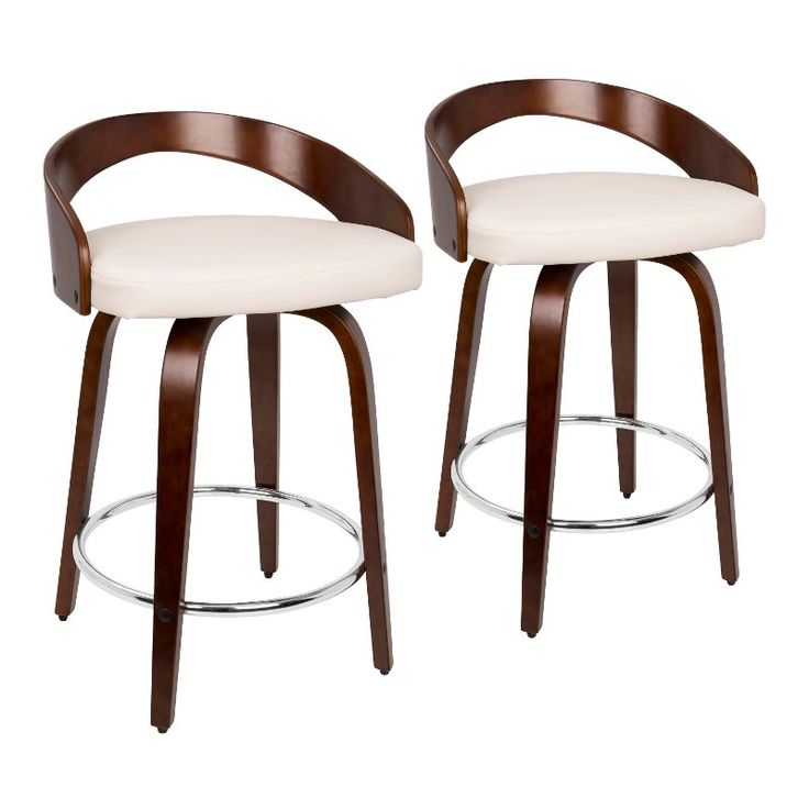Mid Century Cherry And White 24 Inch Counter Height Stools