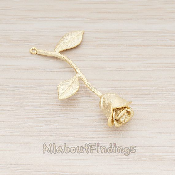 PDT999-MG // Matte Gold Plated Realistic Rose by AllaboutFindings