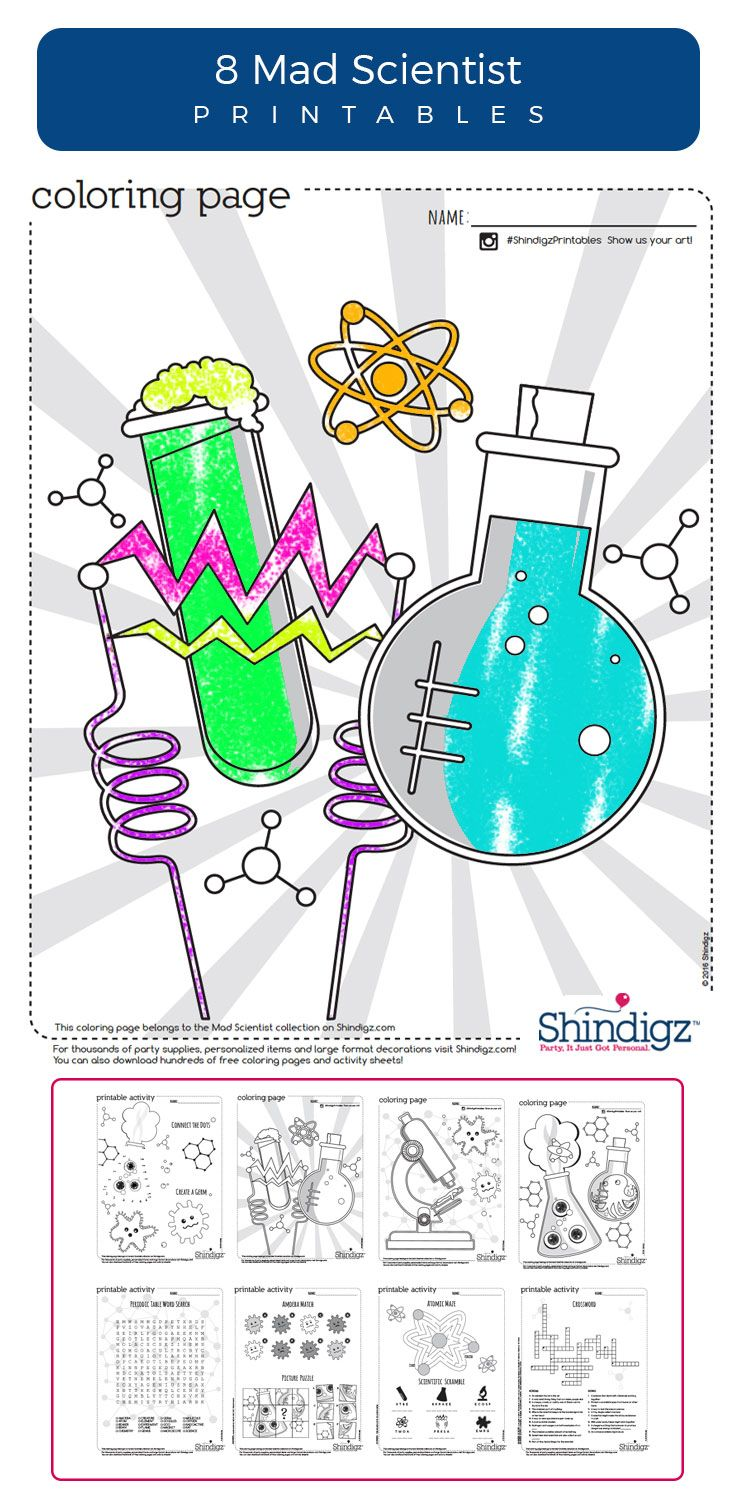 Free coloring pages camping theme -  Scientist Birthday Party Or Just As Everyday Entertainment For Your Own Evil Genius Choose From Science Theme Coloring Pages Amoeba Matching Games