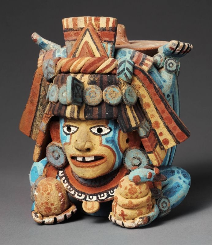Late Postclassic, Maya, Lidded effigy container in the form of a diving god, ca. A.D. 1500 | Princeton University Art Museum