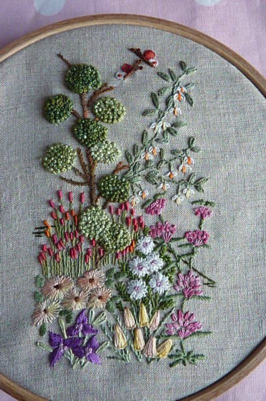 ♒ Enchanting Embroidery ♒ embroidered flowers in a hoop