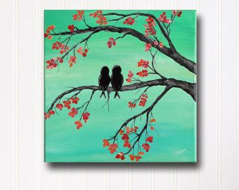 Original Canvas Painting Love Bird Painting Mint and Coral Wedding Gift for Couple Love Birds Anniversary Gift Love Teal Painting Wall Decor