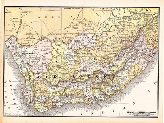 antique map of Cape Colony, Africa from 1891 #antiquesmaps #oldmaps #capecolony #oldmapofafrica