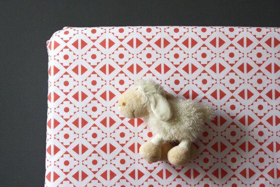 Modern coral crib sheet - Coral Pink- baby girl - modern geometric crib sheet- nursery fitted sheet- toddler bed sheet