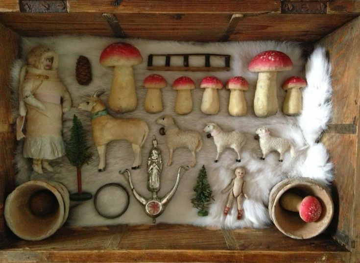 """Putz Stick Leg Sheep"", Spun Cotton Mushrooms,SpunCotton Lady, Tree Decoration, and other Christmas Ornaments."