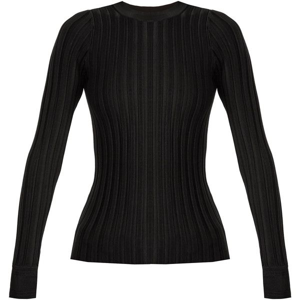 Altuzarra Regan round-neck ribbed-jersey sweater ($695) ❤ liked on Polyvore featuring tops, sweaters, black, anchor sweater, round neck sweater, layered sweater, layered tops and slim sweaters