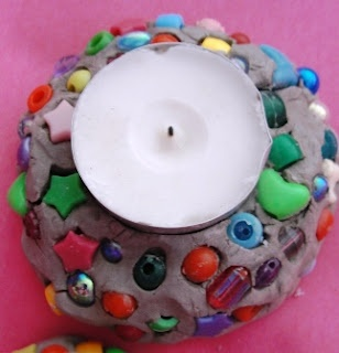 Good idea for using clay with little ones - Clay tea light holders