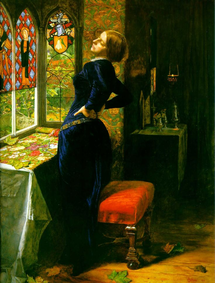 "Sir John Everett Millais, 'Mariana,' 1851, oil paint on mahogany, on loan to the National Gallery of Art, Washington D.C. from the Tate in London. When it was first exhibited at the Royal Academy in 1851 this picture was accompanied by the following lines from Tennyson's 'Mariana' (1830): ""She only said, 'My life is dreary,/He cometh not,' she said;/She said, 'I am aweary, aweary,/I would that I were dead!'"""