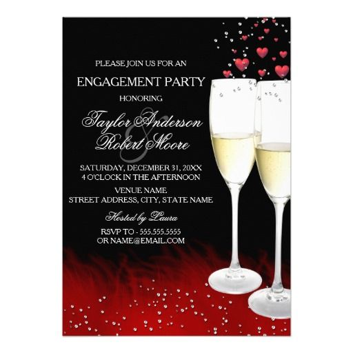 Red Black Champagne & Hearts Engagement Party