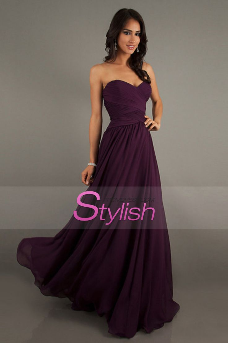 Affordable Bridesmaid Dresses/Prom Dresses A-Line Sweetheart Floor-Length Chiffon Grape