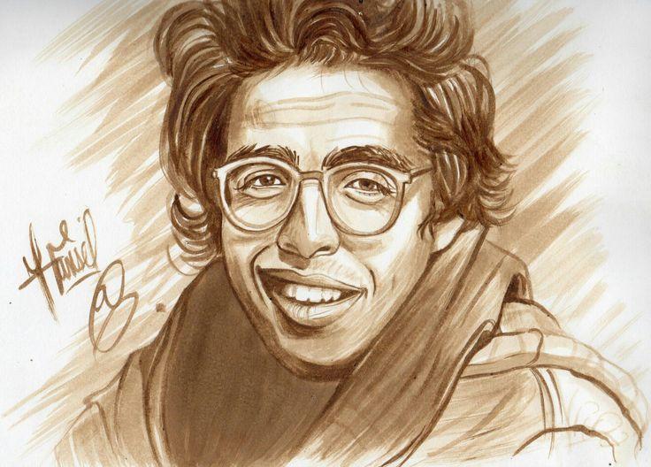 Retrato hecho con café del asesinado y muy recordado Jaime Garzón Forero