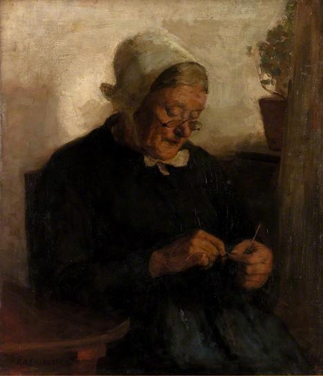Old Woman Knitting  by Florence Engelbach  Date painted: c.1910