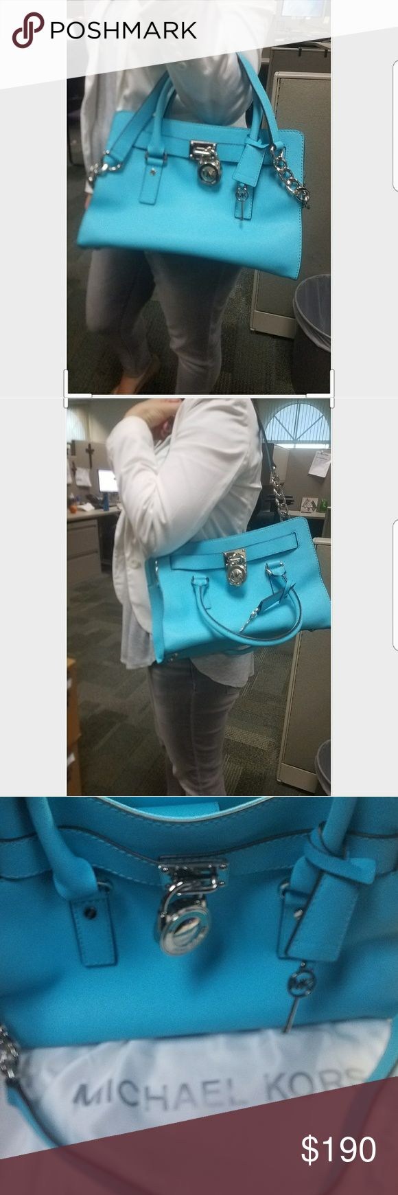 """Studio Hamilton Saffiano Leather East West Satchel Studio Hamilton Saffiano Leather East West Satchel Beautiful ocean blue Michael Kors handbag.  Perfect for spring and summer. Worn 1 time. Very good condition. No scratches or stains inside and/or outside. 12.25""""W X 9""""H X 5.25""""D Michael Kors Bags Satchels"""
