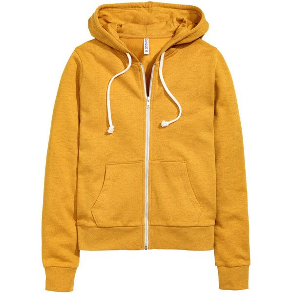 Hooded Sweatshirt Jacket $19.99 ($20) ❤ liked on Polyvore featuring outerwear, jackets, tops, h&m, hoodies, mustard yellow jacket, fleece-lined jackets, yellow jacket, zipper jacket and mustard jacket